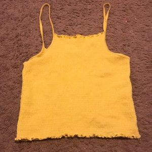 Mustard Yellow Ribbed Cropped Top